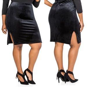 NEW Ashley Stewart Black Velvet Side Split Skirt